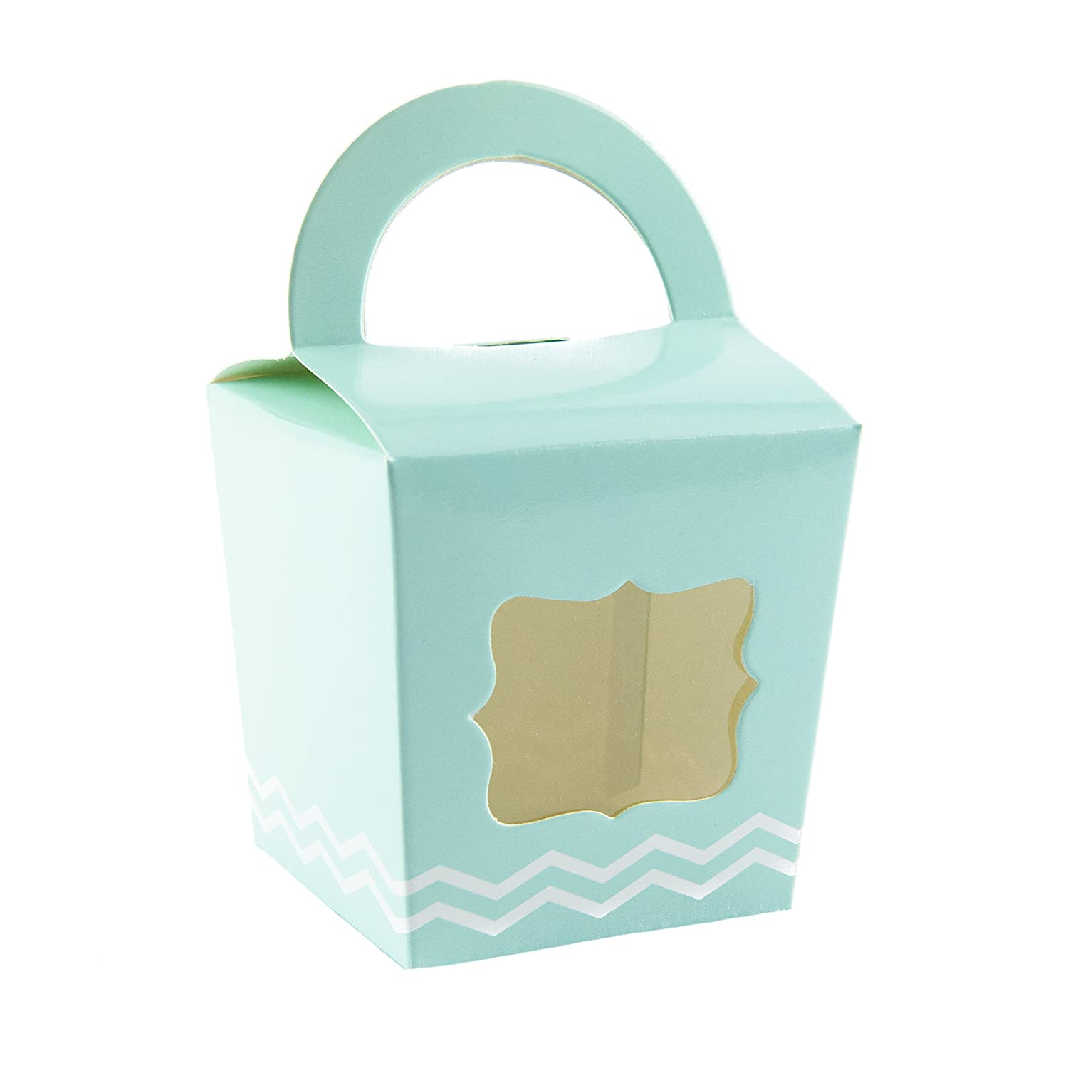10 x Duck Egg Blue Mint Green Single Cupcake Box With Handle And Zigzag Pattern Ibex Retail