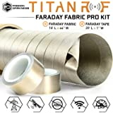 TitanRF Faraday Fabric - Pro Construction Kit - Military Grade Fabric Blocks RF Signals (WiFi, Cell, Bluetooth, etc.) - Dims: 44in W x 18ft L / 66 sq ft / 7.33 sq yds + Free 20ft L Conductive Tape
