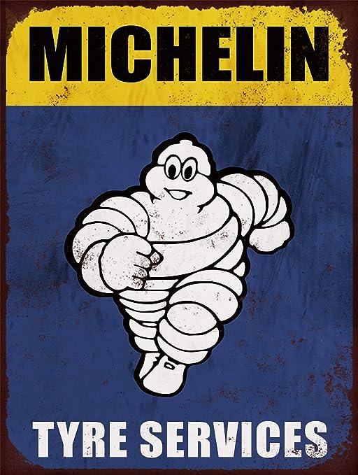 Cartel de publicidad retro de Michelin Tyre Man, tamaño A4, impreso en aluminio cepillado.