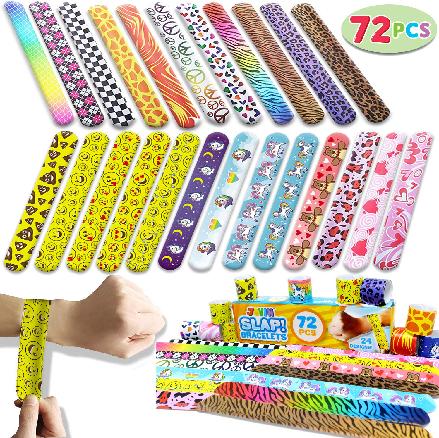 JOYIN Toy 72 PCs Slap Bracelets Valentines Day Party Favors Pack (24 Designs) with Colorful Hearts Animal Emoji and Unicorn for Valentines Gift and Classroom Exchange by JOYIN