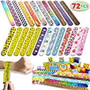 Joyin Toy 100 PCs Slap Bracelets Valentines Day Party Favors Pack (24 Designs) with Colorful Hearts Animal Emoji and Unicorn