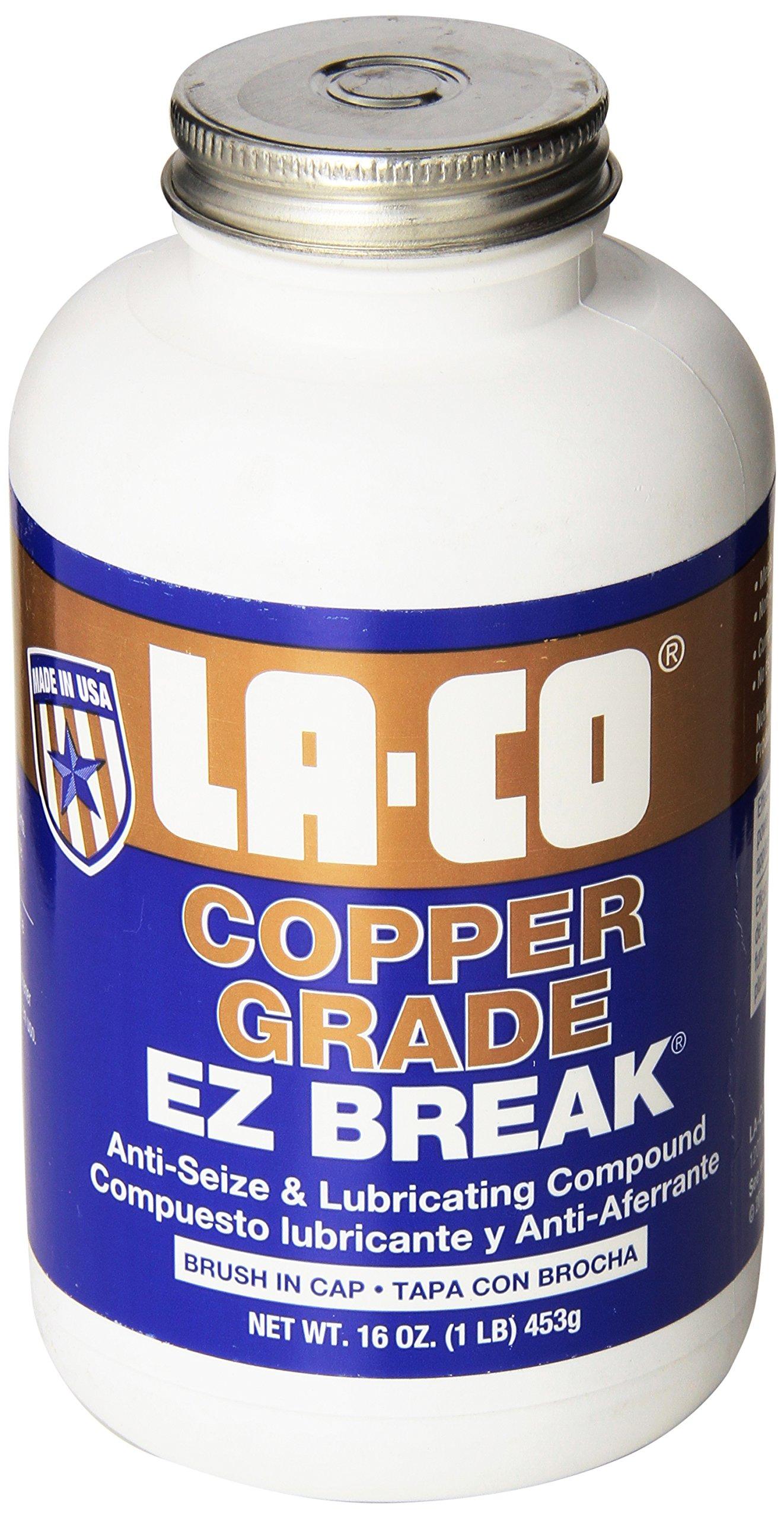 LA-CO EZ Break Copper Grade Antiseize Paste, 1800 Degree F Temperature, 16 oz Jar with Brush in Cap