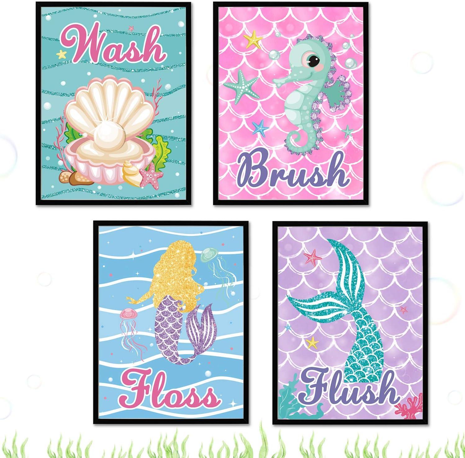 Mermaid Bathroom Wall Art Decors, Ocean Wash Brush Floss Flush Kids Girls Bathroom Under the Sea Rules Wall Signs with Frames, Set of 4