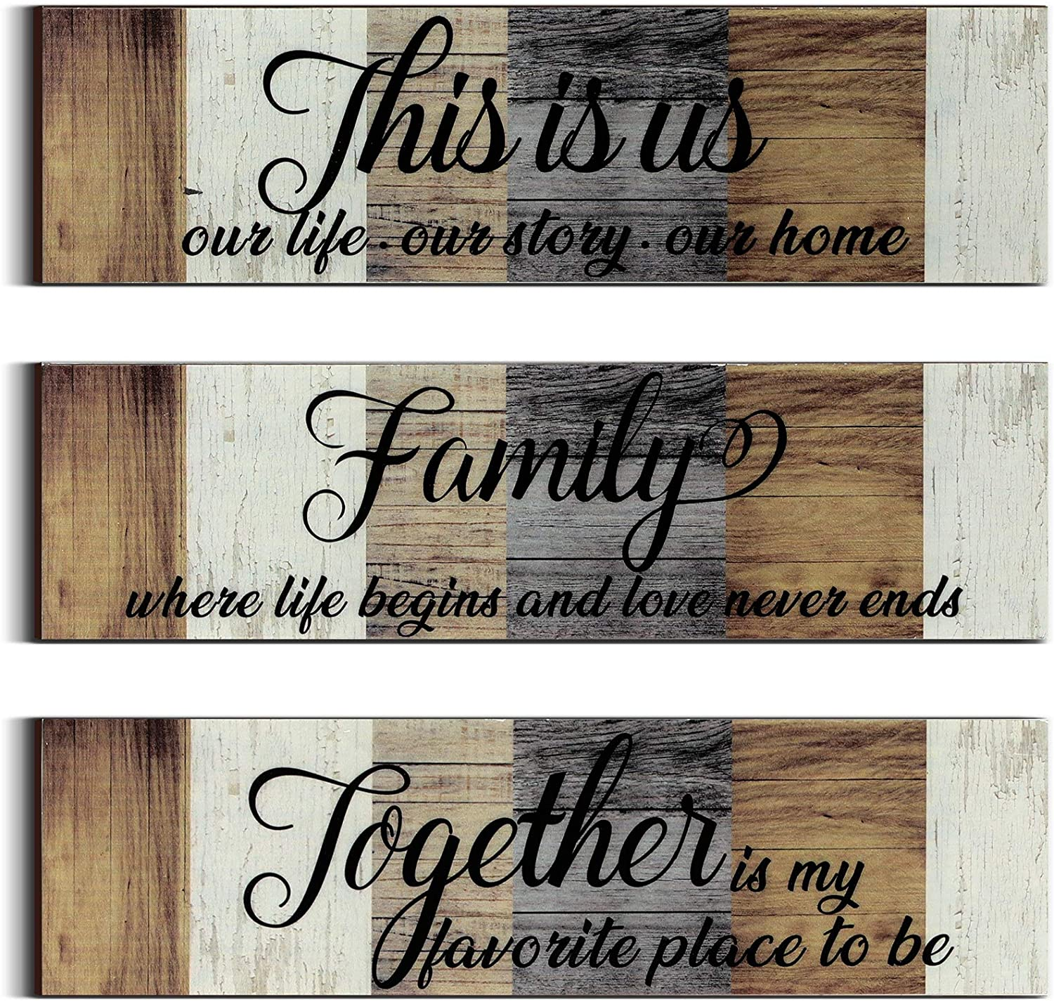 3 Pieces This is Us Sign Rustic Family Home Decor Wooden Sign Together Hanging Wall Decorations for Living Room Kitchen Bedroom Laundry Bathroom Office House Warming
