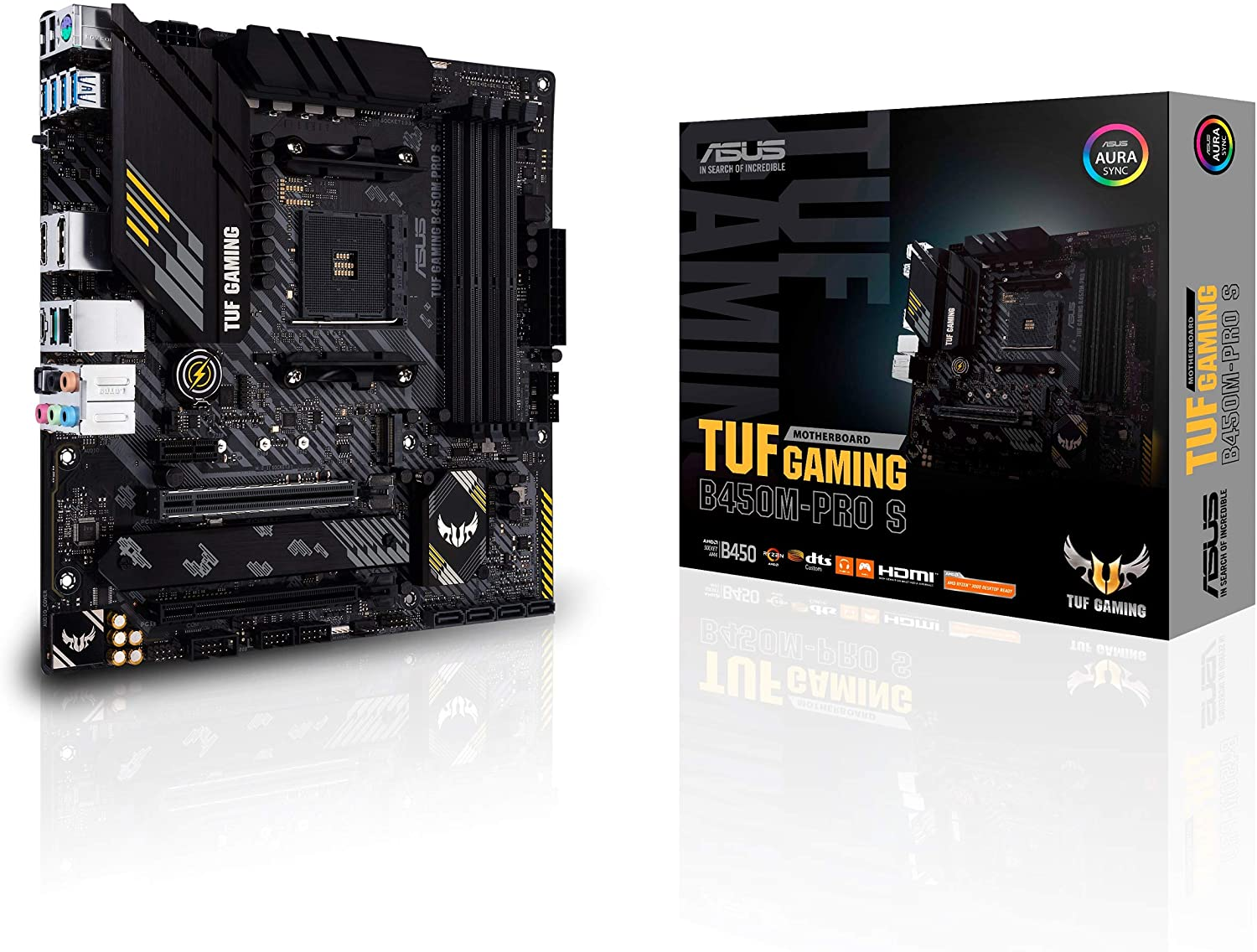 ASUS TUF Gaming B450M-PRO S AMD AM4 (3rd Gen Ryzen Micro ATX Gaming Motherboard (8+2 Power Stages, 2.5Gb LAN, BIOS Flashback, AI Noise-Canceling Mic, USB 3.2 Gen 2 Type-A and Type-C, Aura Sync RGB)