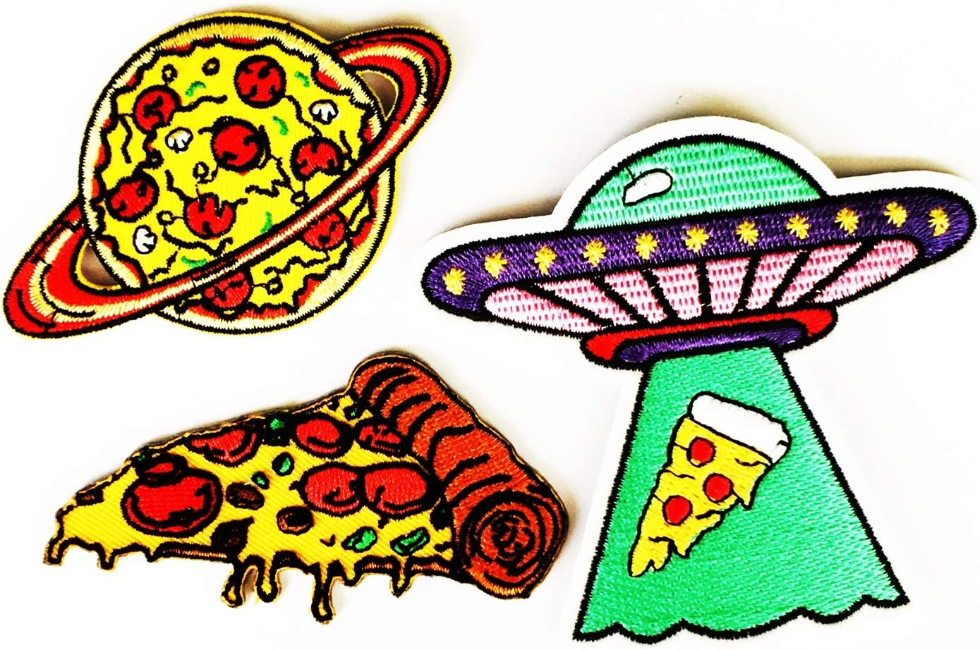 Pizza Planet Italian Earth Stars 3.2/8X2 Pizza Italian Fast Food Fun 2X3.3/8 Pizza Italian Ham Cheese UFO 3.6/8X3.4/8 inches MEGADEE Iron on Backpack Ideal for Gift (Set 3 Patch 020)