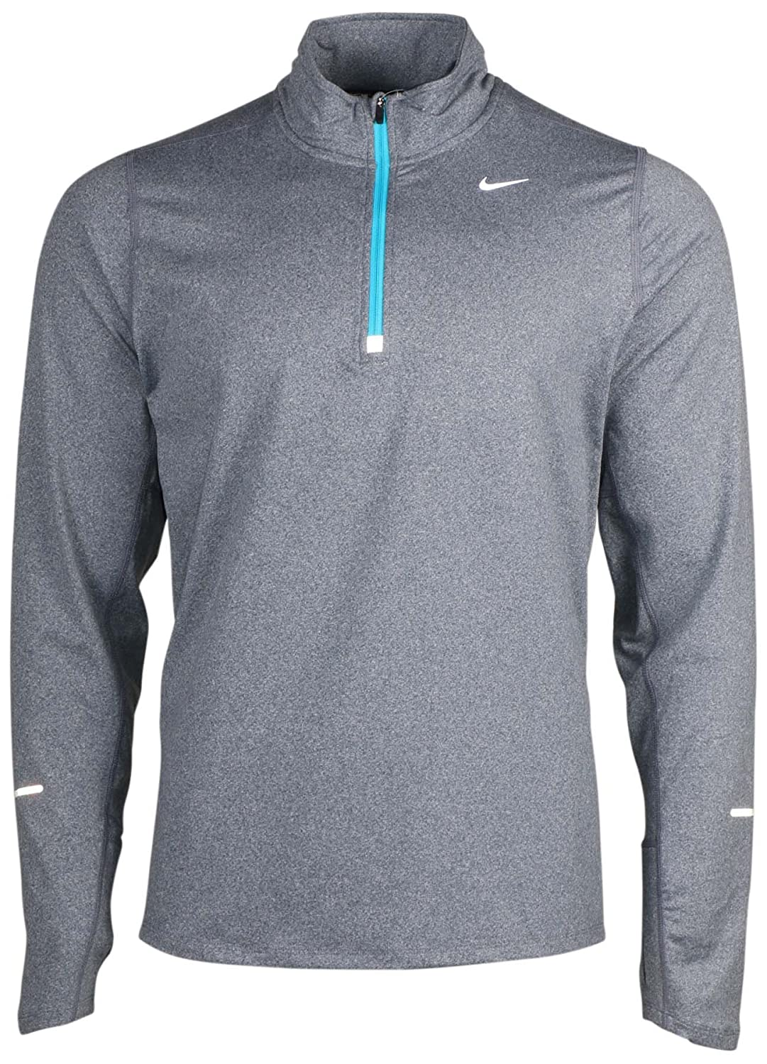 NIKE Men's Dry Element Running Top B0098RBWCG Large|Silver/Heather/Gamma Blue