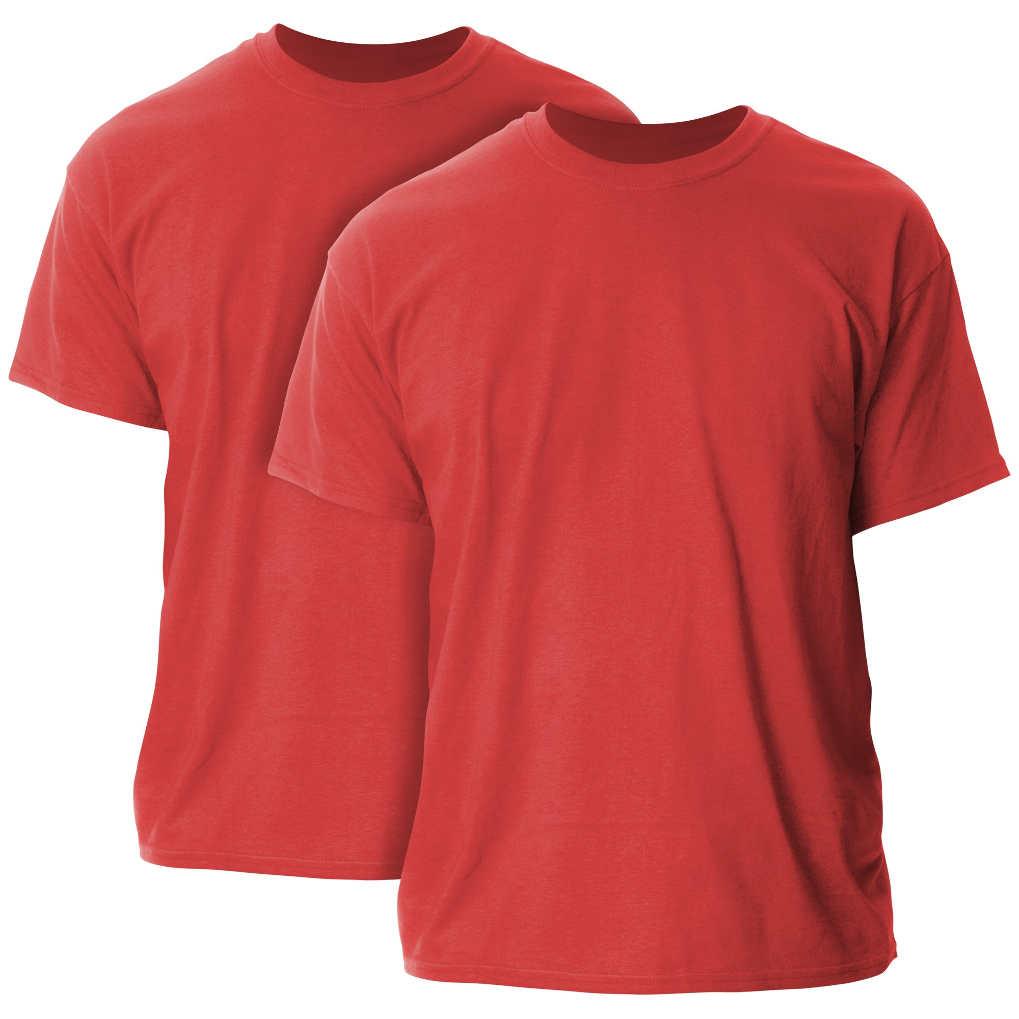 Gildan Men's Ultra Cotton Adult T-Shirt, 2-Pack, Red, Large