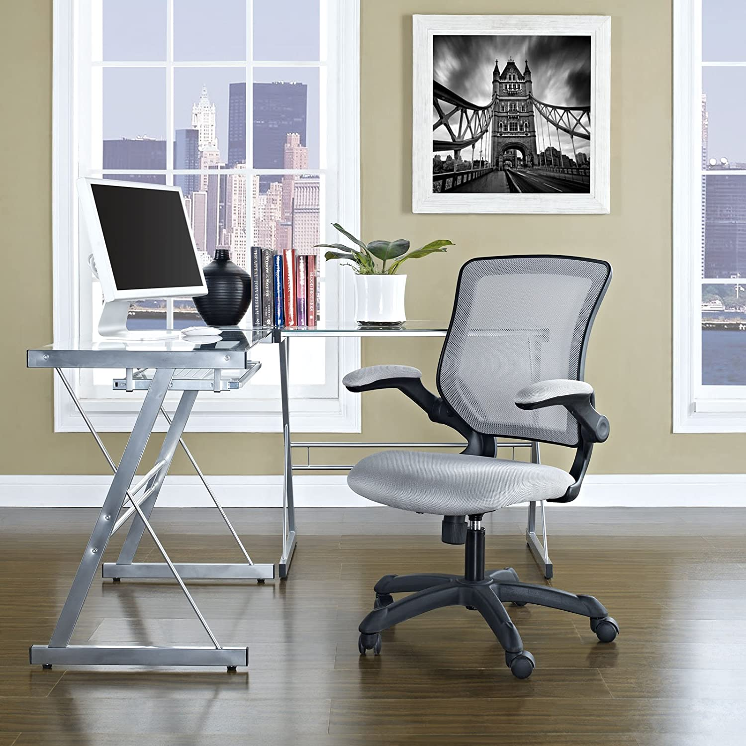 Modway Veer Office Chair with Mesh Back and Gray Vinyl Seat With Flip-Up Arms- Ergonomic Desk And Computer Chair