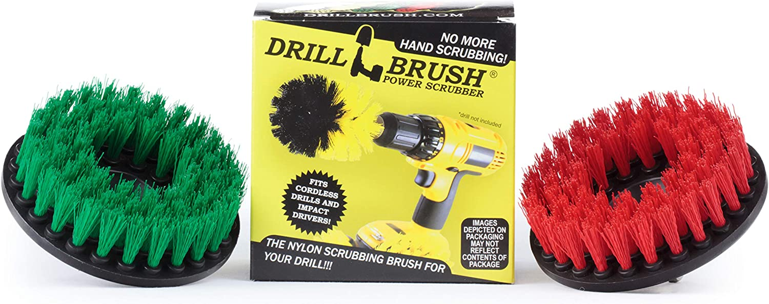 Drill Brush - Cleaning Supplies - Medium and Stiff Bristle Brush Kit - Spin Brush - Grout Cleaner - Tile, Counter-tops, Stove, Oven, Sink, Trash Can, Floors - Concrete Swimming Pools, Garden Fountains