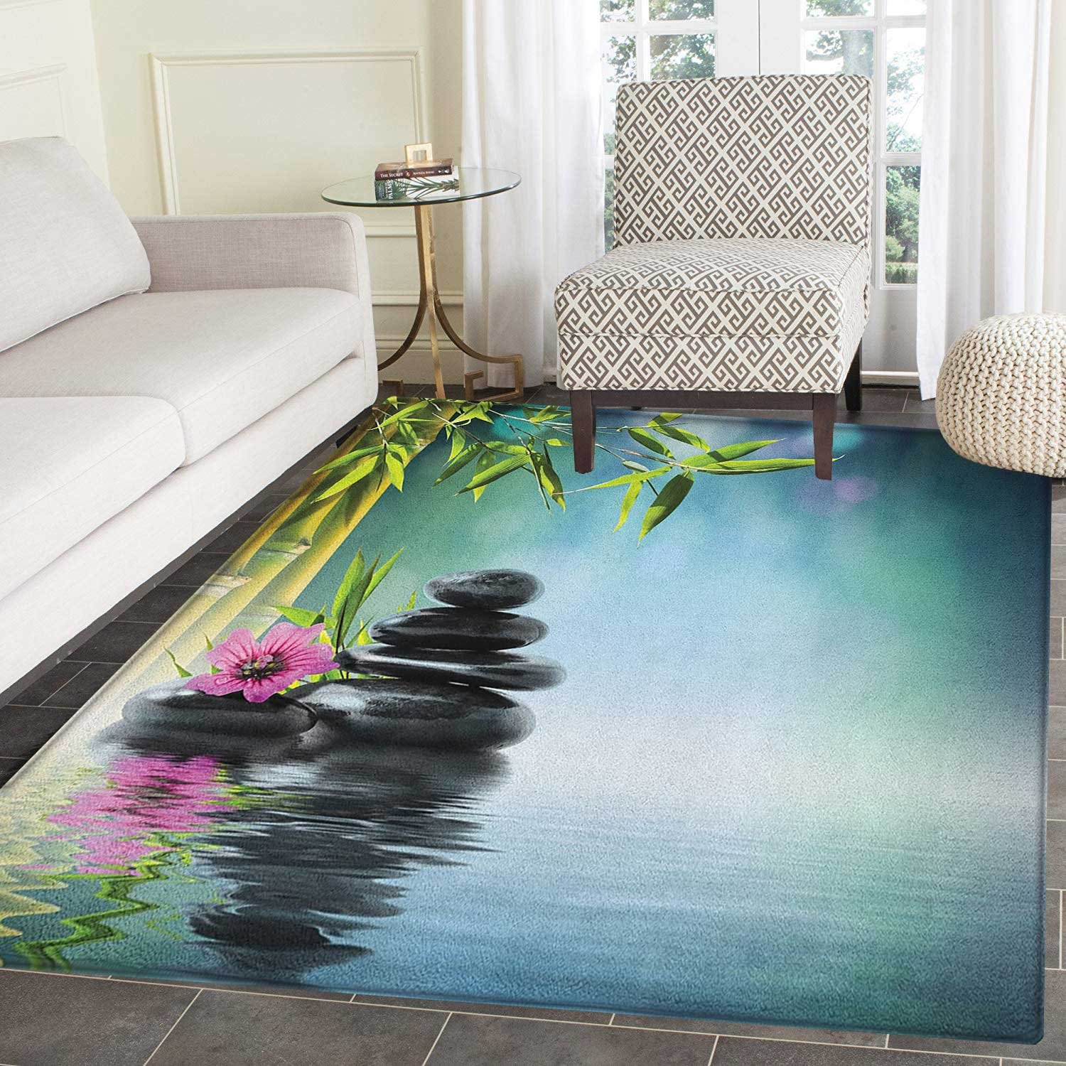 Zen Garden Area Silky Smooth Rugs Pink Flower Spa Stones and Bamboo Tree on the Water Relaxation Theraphy Peace Floor Mat Pattern 2'x3' Multicolor