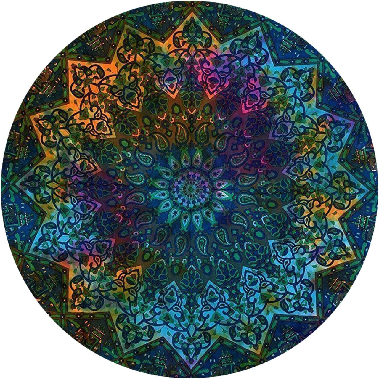 GLOBUS CHOICE INC. Blue Tie Dye Star Round Beach Tapestry Hippie Boho Mandala Blanket Indian Cotton Throw Bohemian Table Decor Cloth Yoga Mat Meditation Picnic Rugs Multi Color