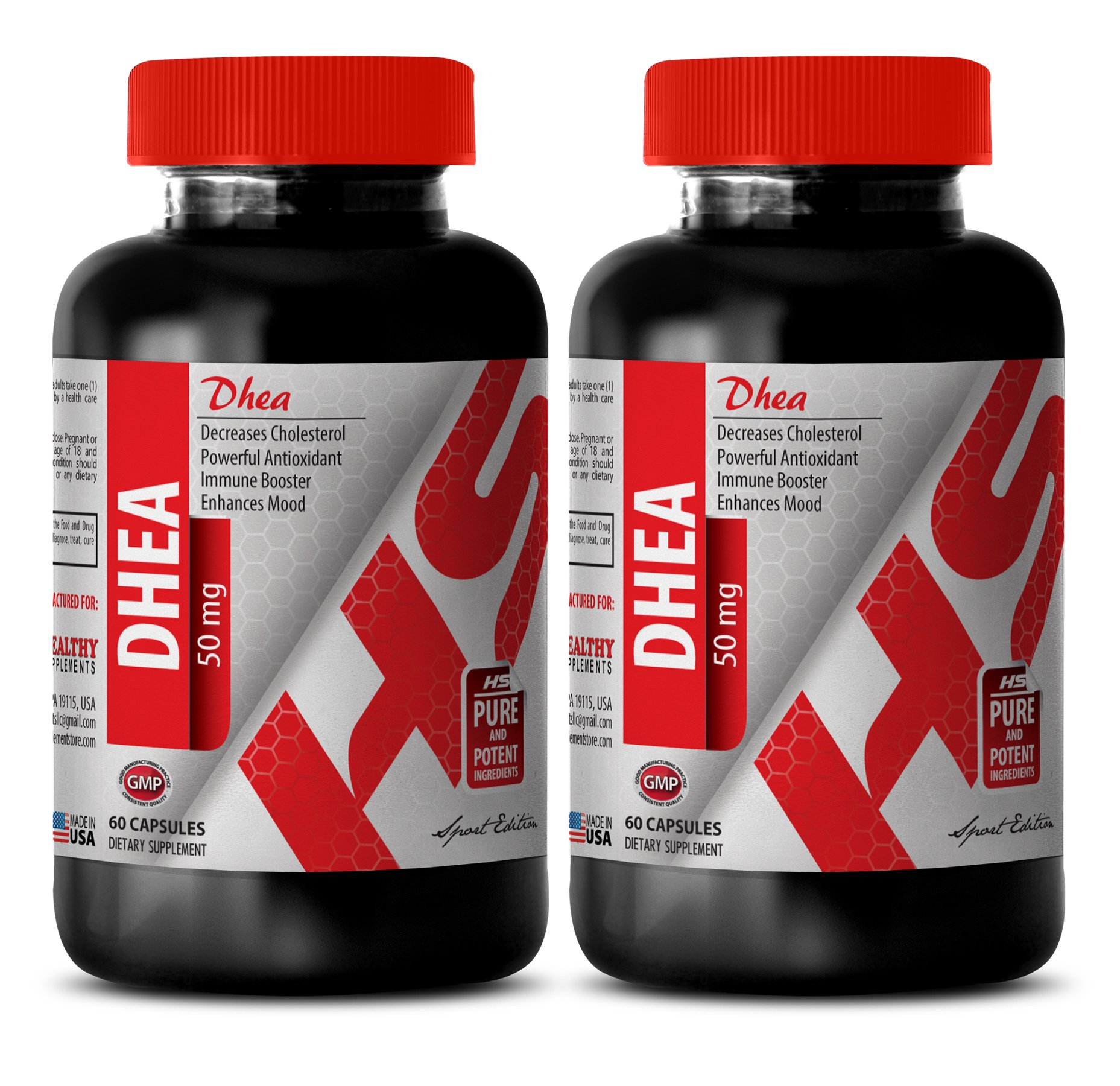 Dhea powder - DEHYDROEPIANDROSTERONE DHEA 50 MG - increase in testosterone levels (2 Bottles)