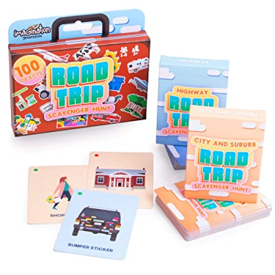 Road Trip Scavenger Hunt – Search for 100 Objects with (2) Decks: 50 Highway Trip Cards and 50 City & Suburbs Trip Cards - Kids Travel Activities and Family Card Games for Long Car Rides and Vacations: Toys & Games