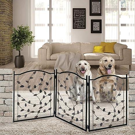 Etna 3 Panel Leaf Design Metal Pet Gate Decorative Tri Fold Dog Fence
