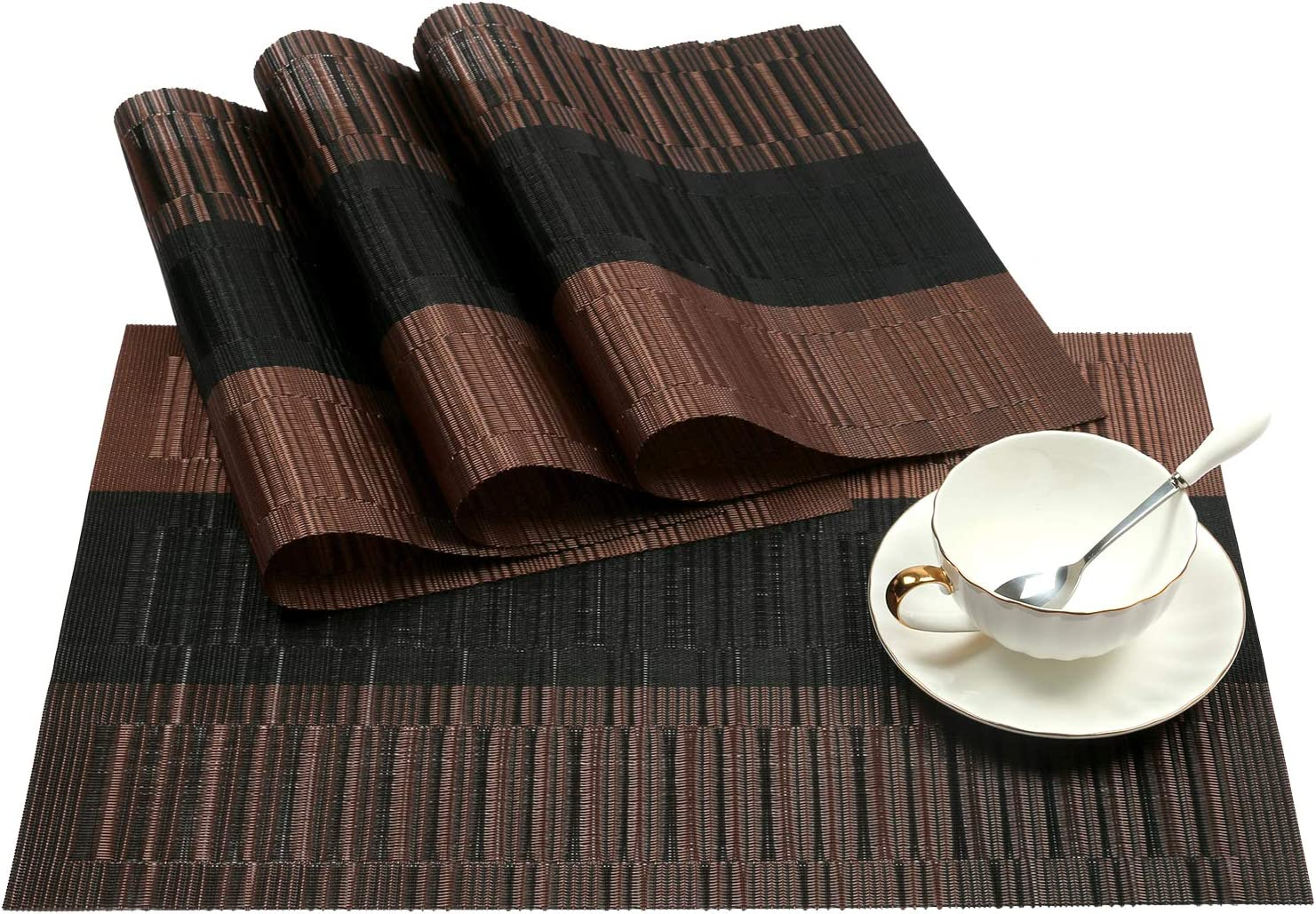 SHACOS Placemats Set of 4 Woven Vinyl Placemat for Dining Table Heat Resistant Wipe Clean (4, Ombre Coffee Black)
