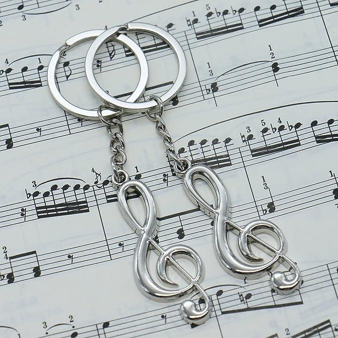 Amazon.com: Huele 10 piezas Nota Musical llavero Metal G ...