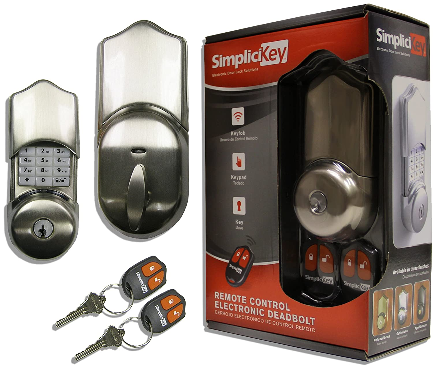 SimpliciKey SRCED-SN-2 Remote Control Electronic Deadbolt Door Lock, Satin Nickel