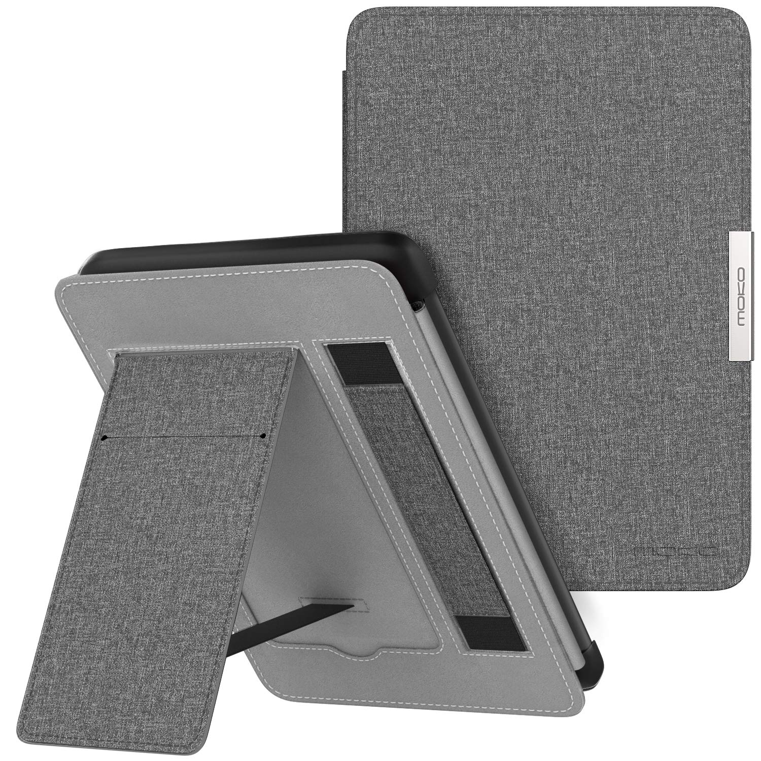 Mo Ko Case For Kindle Paperwhite, Premium Pu Leather Pc Hard Shell Smart Stand Cover Fits All Paperwhite Generations Prior To 2018 (Will Not Fit All New Paperwhite 10th Generation), Gray by Mo Ko