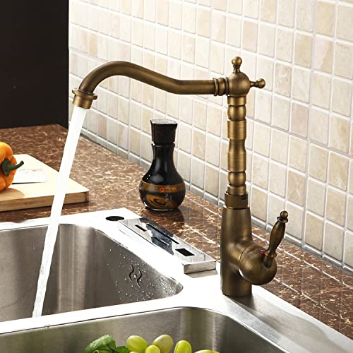 Lightinthebox Deck Mount Antique Inspired Solid Brass Long Tall Curve Spout Bar Faucets Classic Kitchen Faucet 360 Swivel Rotatable Kitchen Basin Faucets Plumbing Fixtures Mixer Taps Ceramic Valve Included Single Hole One Handle Faucets Bronze