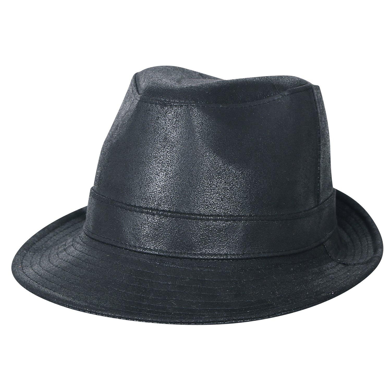a34c257aa50 ililily Big Size Faux Leather Panama Trilby Fedora Faux Leather Band Trim  Hat  Amazon.co.uk  Clothing