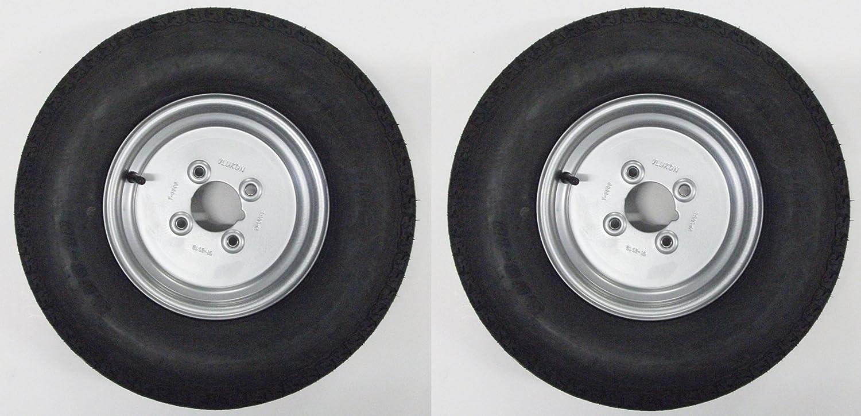 Un par de 500 x 10 pulgadas remolque ruedas y neumáticos con 8 capas neumáticos y 4 pulgadas PCD PT no. lmx1602: Amazon.es: Coche y moto