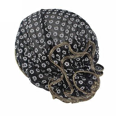 23bd1c1aad4 Kingko® Women s Muslim Small Daisy Printing Stretch Turban Hat Chemo Beanie  Cap Hair Loss Head