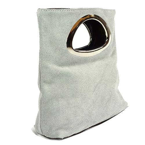 MILANO gris Embrague de ante y cuero auténtico Italiano / Bolsa Cartera de mano con ara, Carelli Italia: Amazon.es: Zapatos y complementos