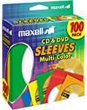 Maxell CD403 Multicolor 100-Pack CD/DVD Sleeves 190132