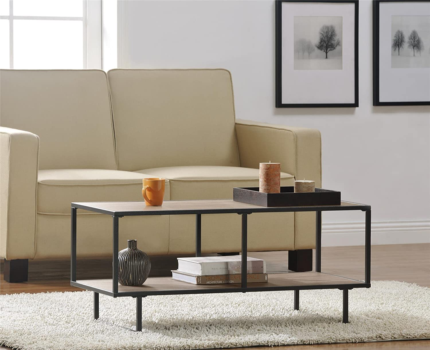 Altra emmett 42 tv standcoffee table with metal frame sonoma oak altra emmett 42 tv standcoffee table with metal frame sonoma oakgunmetal gray by altra furniture amazon kitchen home geotapseo Images