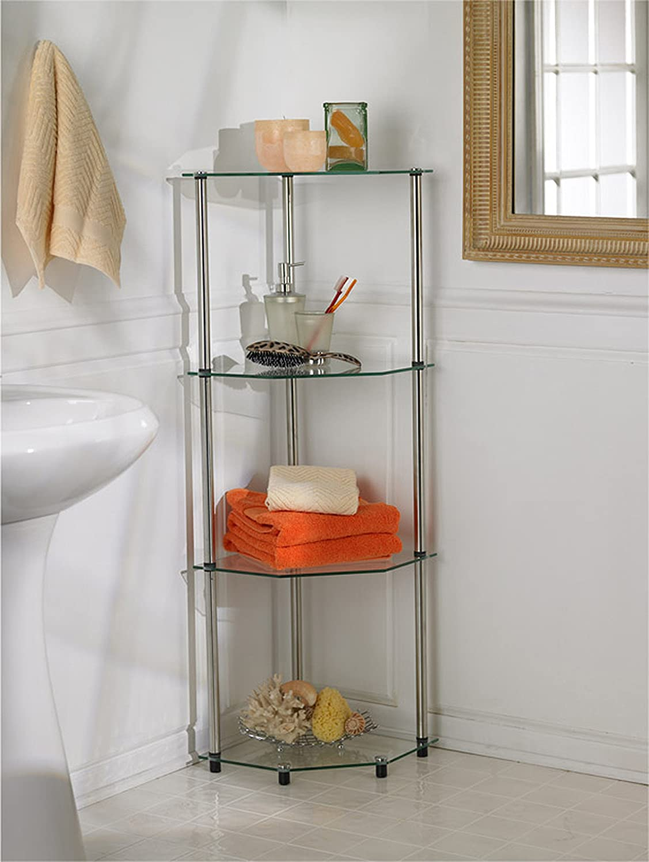 Convenience Concepts 157005 Go-Accsense 4-Tier Glass Corner Shelf, Clear Glass