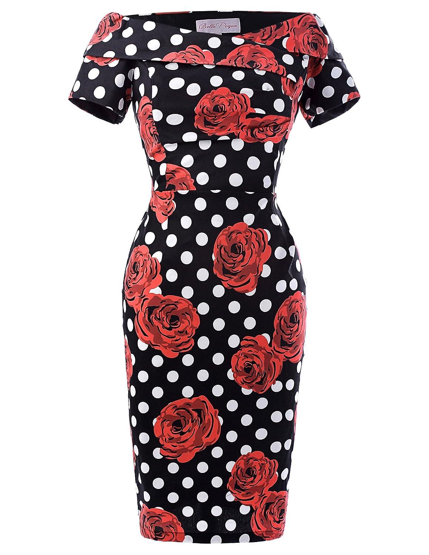 Belle Poque Damen Vintage Rockabilly Kleid 1950er Jahre Bodycon Pencil Kleid
