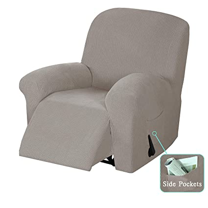 SimpleHome 1-Piece Recliner Chair Slipcovers with Pockets Stretch Spandex Jacquard Recliner Cover Coat Furniture Protector for Living Room (Recliner ...