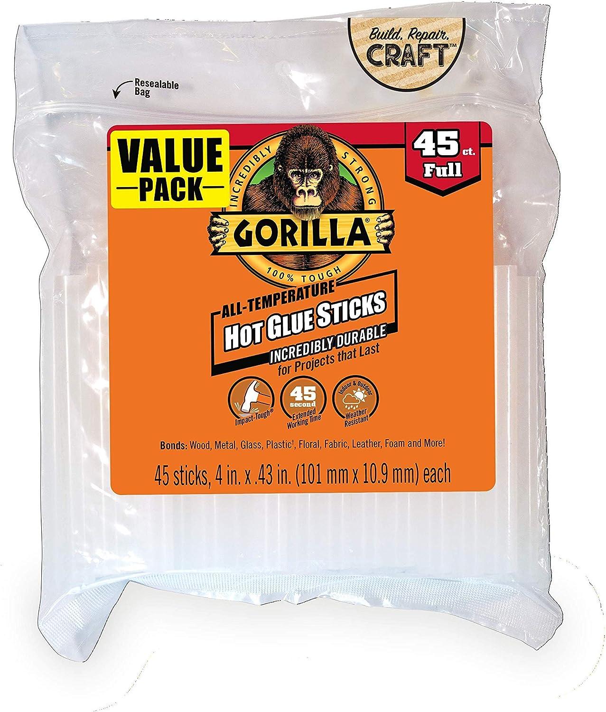 Gorilla 3034518 Hot Glue Sticks, 4 in. Full Size, 45 Count, 1-Pack: Home Improvement