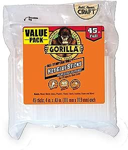 Gorilla Lot de 45 bâtons de colle à chaud Transparent 10,2 cm de long x 1,1 cm de diamètre, 3034518