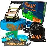 Trailblaze Slackline Kit for Kids with Tree Protectors + Carry Bag | Perfect Slack Line for Family Healthy Outdoor Fun | Slackline 50 ft Easy Set-up for Slack Lines Beginner to Pro