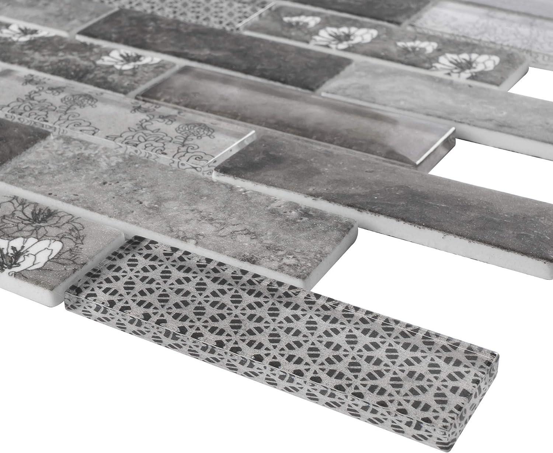 - TREGLG-03 Grey 1x4 Brick Recycle Glass Mosaic Tile Backsplash