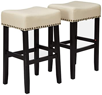 Pleasing Christopher Knight Home Chantal Backless Beige Linen Counter Stools With Brass Nailhead Studs Set Of 2 Gmtry Best Dining Table And Chair Ideas Images Gmtryco