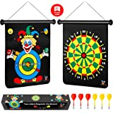 Magnetic Dart Board for Kids, Darts Game Set 6 Safe Magnetic Darts and 2-Sided Target in a Gift Box