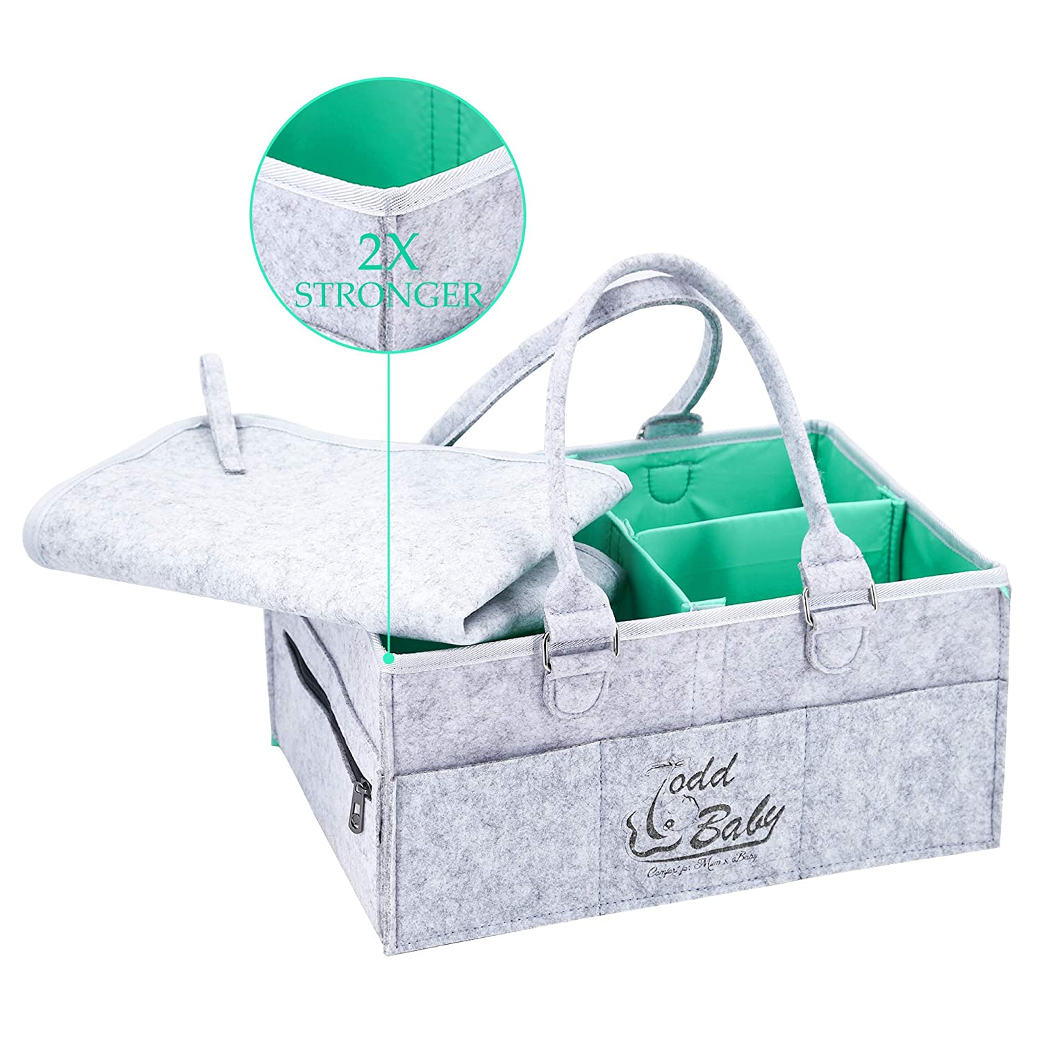 Baby Diaper Caddy Organizer Changing Mat Set Waterproof | Nursery Storage Bin for Wipes, Lotions,Toys | Portable Car Storage Basket | Changing Table Organizer | Baby Registry Gift Basket (Turquoise) Todd Linens