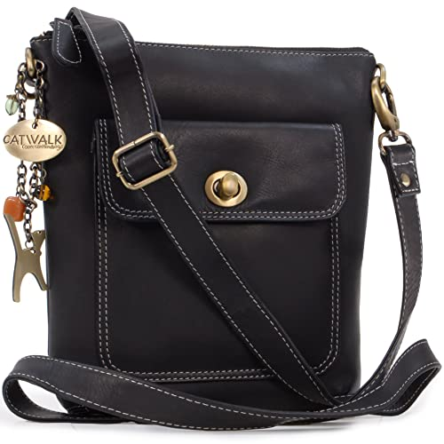 8ae922c88f Catwalk Collection Handbags - Women s Leather Cross Body Bag with  Detachable Adjustable Strap - LAURA -