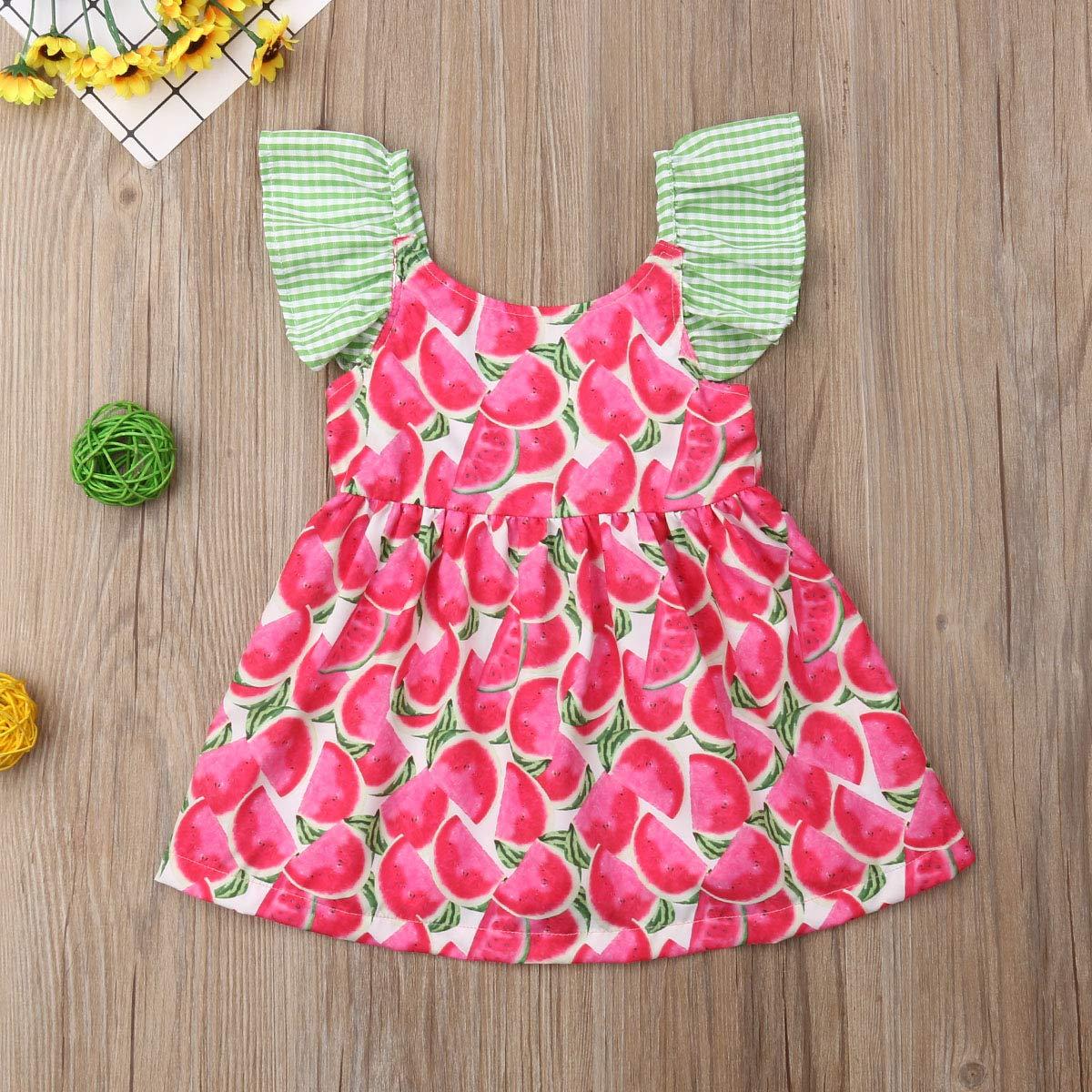 Dinlong Toddler Baby Kid Girls Summer Dresses Sleeveless Tie Stripe Condole Belt Casual Princess Skirt