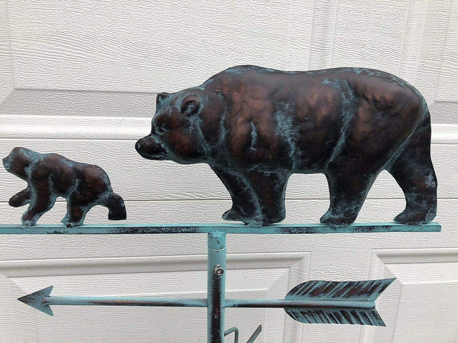 Galapagoz Bear Cub Weathervane Antiqued Copper Finish Weather Vane Handcrafted Home Decor USA