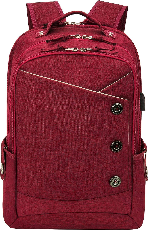 KINGSLONG Laptop Backpack for Women Men Travel Backpacks College School Work Red