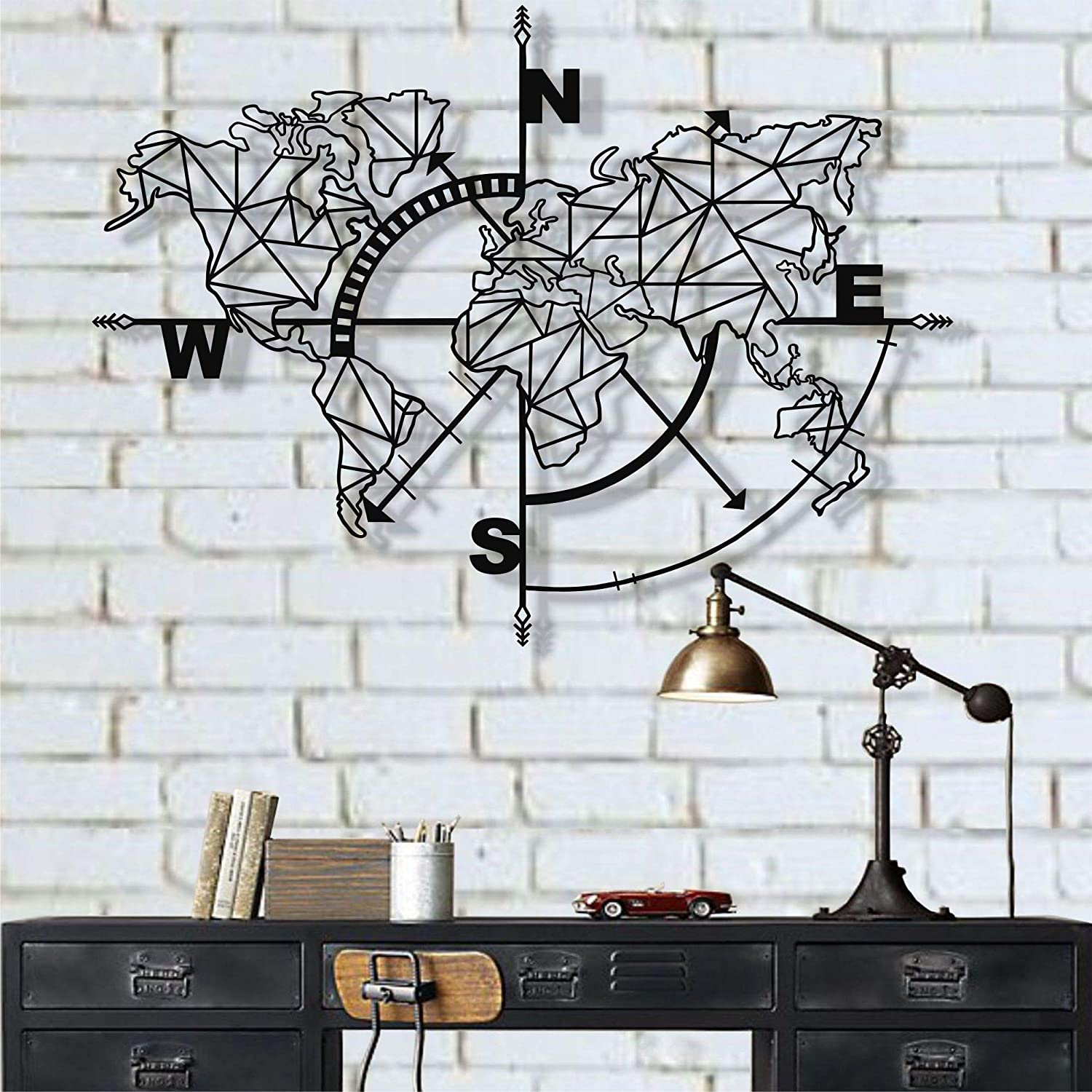 DEKADRON Metal World Map Wall Art Geometric Compass, Metal Wall Decor Art Work, Metal Sign, Metal Wall Art, Metal Art, Wall Decoration Home Decor (Black, 55