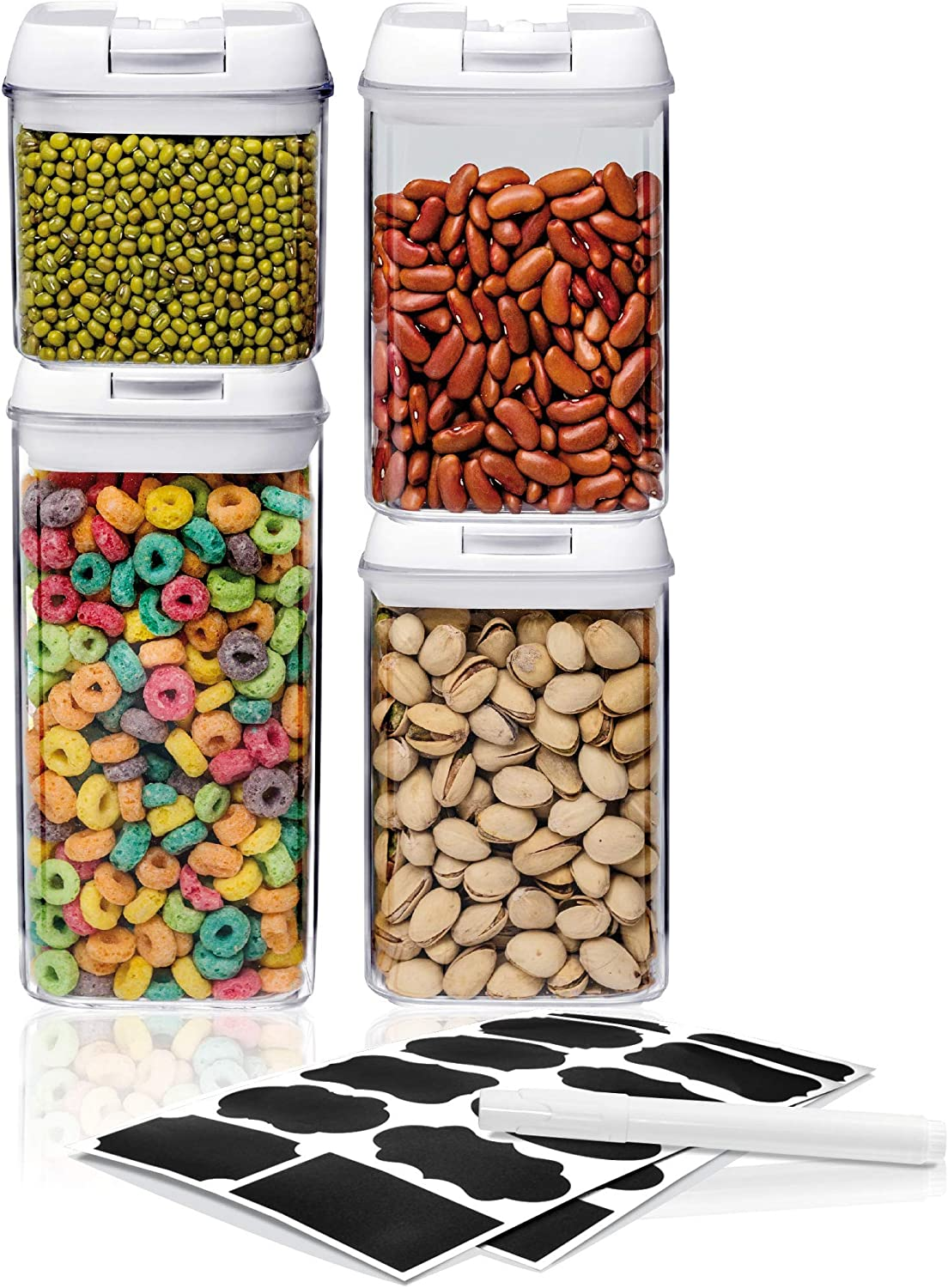 Airtight Food Storage Container Sets - Larger Sizes |Leak Proof & Interchangeable Lids| Pantry Organization| Premium Quality Clear Plastic with White Lids| BPA FREE (4-Piece Set)