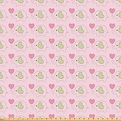 Amazon Com Ambesonne Baby Fabric By The Yard Elephants In