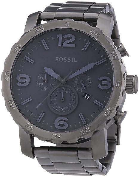 Fossil JR1400 - Reloj cronógrafo de cuarzo para hombre, correa de acero inoxidable color gris
