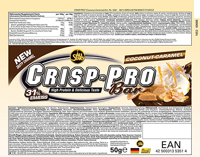 All Stars Crisp-Pro Bar Cocos-Caramel - 24 Barras: Amazon.es: Salud ...