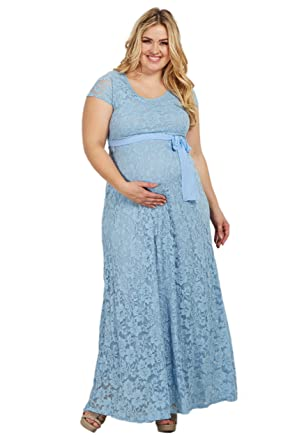 bf02a7cb0c3c4 PinkBlush Maternity Blue Lace Sash Tie Plus Maternity Gown, 2X at ...